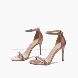 Giày sandal cao gót thời trang mũi nhọn quai mảnh phối dây